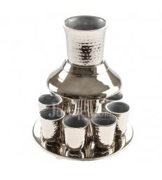 Fontaine à vin Aluminium avec 8 Petits Verres 21cm