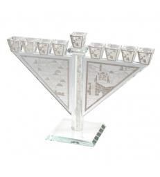 Hanoukia Cristal Thème Jerusalem 28x21cm
