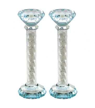 Bougeoirs Cristal 21cm - Bleu Clair avec Pierres Décoratives