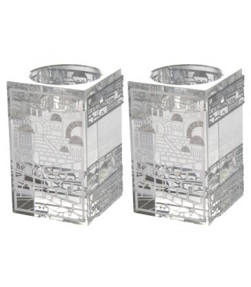 Bougeoires en cristal 8x5cm - avec plaque en métal argenté et découpée au laser