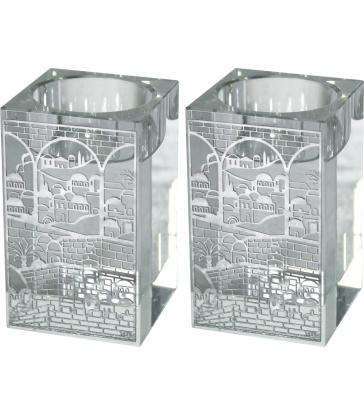 """Bougeoirs Cristal 8cm avec Plaque en Métal - """"Jérusalem"""""""