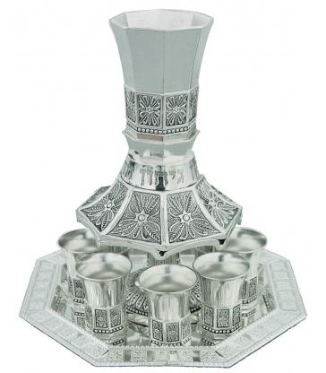 Fontaine à vin Aluminium avec 8 Petits Verres