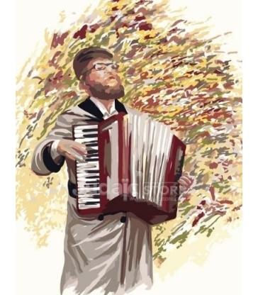 Hassid jouant de l'accordéon – Peinture par numéros Tamar Zeitlin