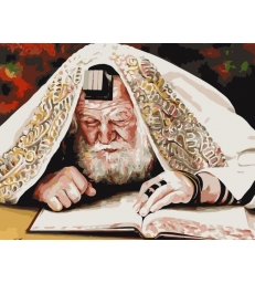 Rabbin etudiant avec  les Tefilin – peinture par numéros Natan Cooper